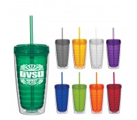 16 Oz.Economy Double Wall Tumbler With Lid And Straw