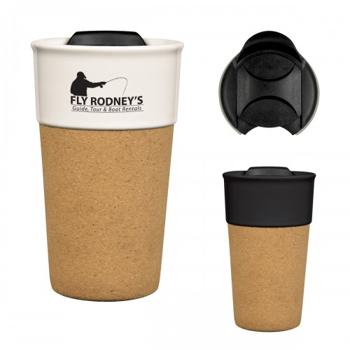 13 Oz. Brea Cork Ceramic Travel Tumbler