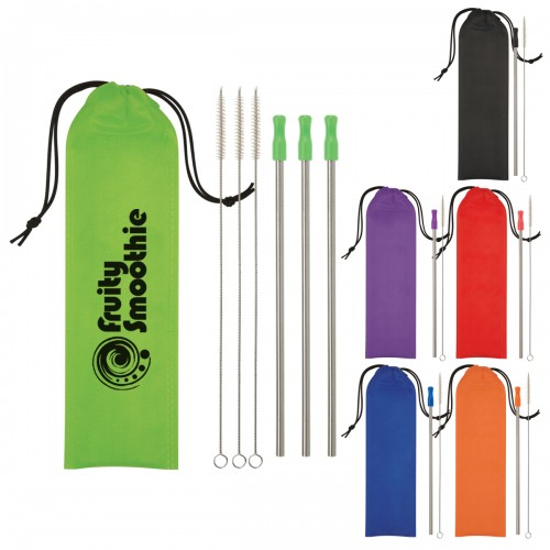 3-Pack Stainless Steel Straw Kit