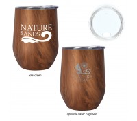 12 Oz. Woodgrain Alexander Stainless Steel Stemless Wine Cup