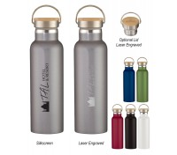 21 Oz. Liberty Stainless Steel Bottle With Wood Lid