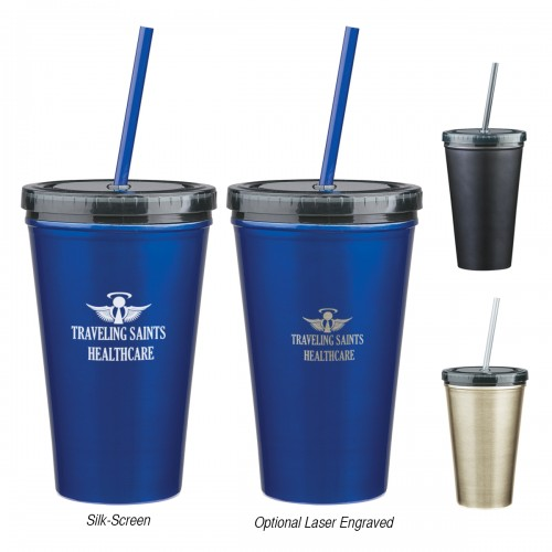 16 Oz. Stainless Steel Double Walled Tumbler with Straw