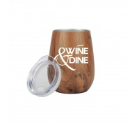 10 Oz. Stainless Steel Wood Tone Stemless Wine Cup