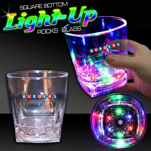 10 Oz Square Bottom LED Rocks Glass