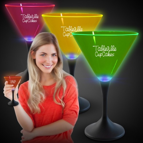 7 Oz. Light-Up Neon Plastic Martini Glass with Blue LED Black Stem