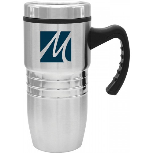 18 oz. Steel City Stainless Mug with Polished Rings