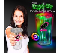 16 Oz. Light Up Travel Cup with Colorful Lid & Straw