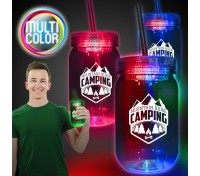 20 Oz. Multi-Color LED Mason Jar with Straw