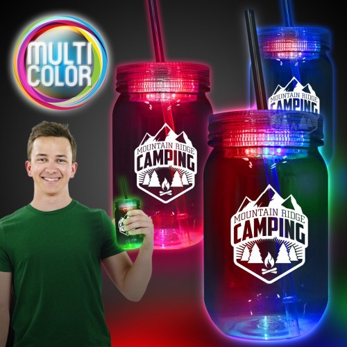 20 Oz. Multi-Color LED Mason Jar with Straw
